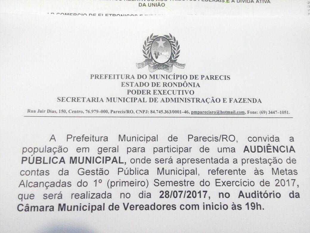 AUDIÊNCIA PUBLICA MUNICIPAL REFERENTE A PRESTAÇÃO DE CONTAS  DO 1° SEMESTRE DE 2017.