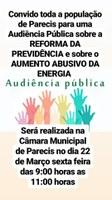 Audiência Publica sobre a Reforma da Previdência e Aumento Abusivo da Energia